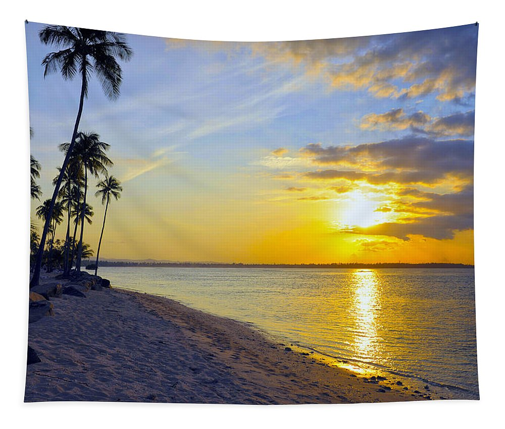 Beach Tapestry featuring the photograph Caribbean Sunset by Stephen Anderson