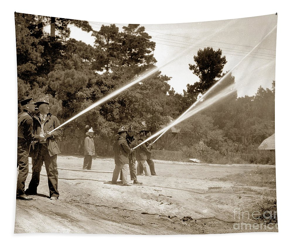 Carmel Fire Department Tapestry featuring the photograph Carmel Fire Department California Circa 1930 by California Views Archives Mr Pat Hathaway Archives