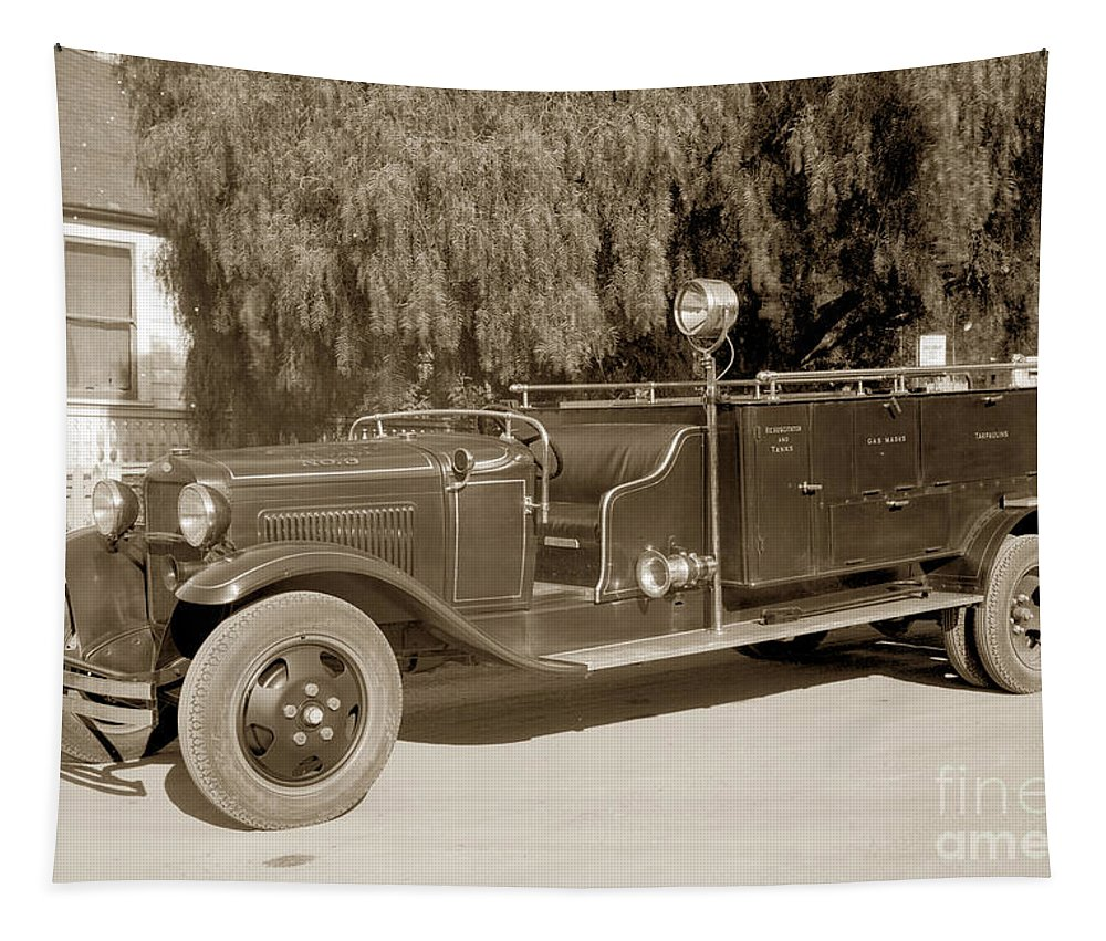 Carmel Fire Dep Tapestry featuring the photograph Carmel Fire Department Engine No. 3 Circa 1933 by California Views Archives Mr Pat Hathaway Archives