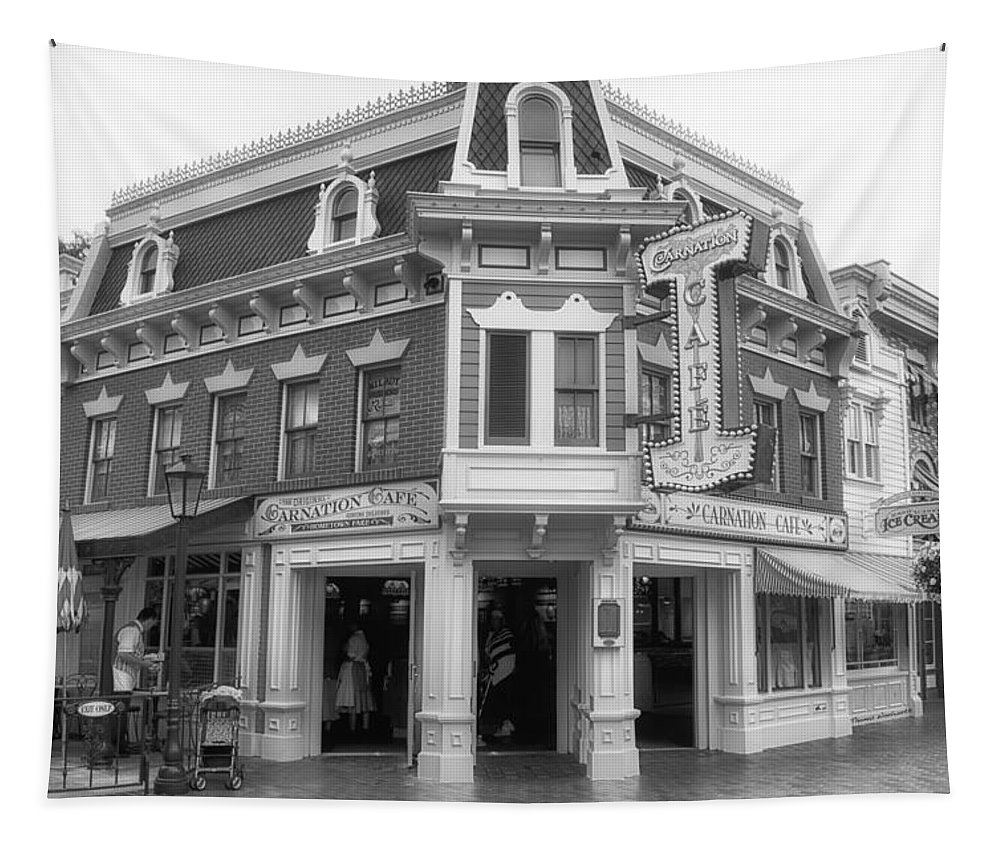 Disney Tapestry featuring the photograph Carnation Cafe Main Street Disneyland Bw by Thomas Woolworth