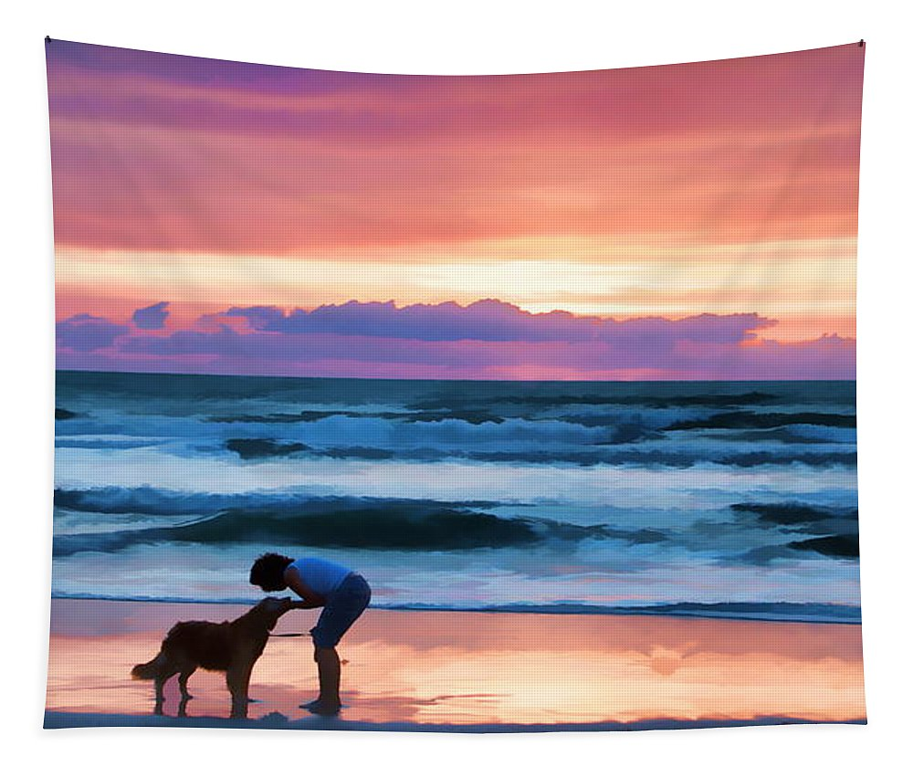 Dog Lady Sunrise Ocean Love Companionship Tapestry featuring the photograph Caro Y Bella Deux by Alice Gipson