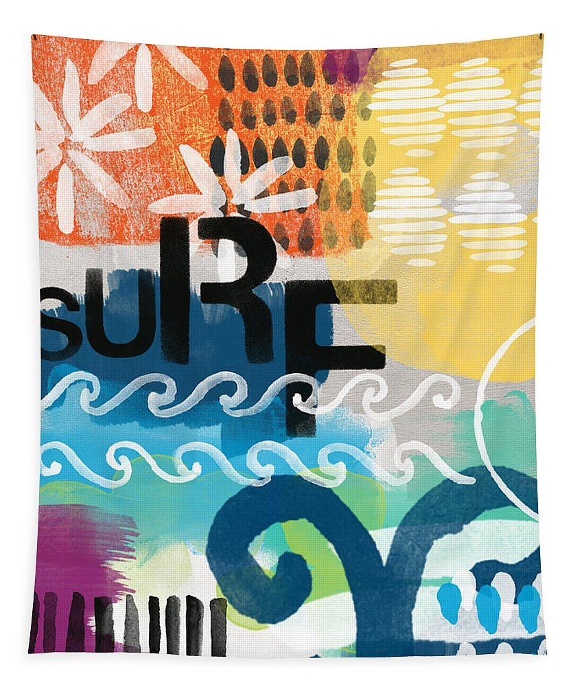 Surf Tapestry featuring the painting Carousel #7 SURF - contemporary abstract art by Linda Woods