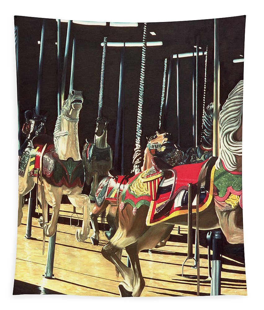 Merry Go Round Tapestry featuring the painting Carousel by Anthony Butera