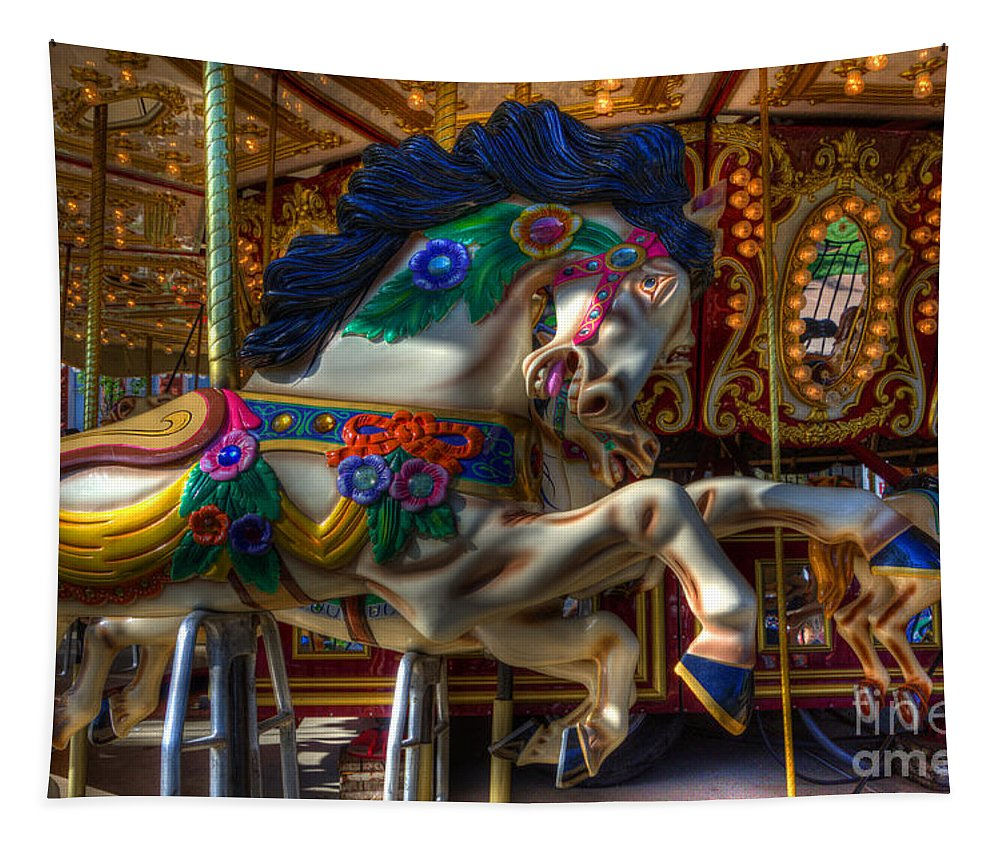 Carousel Tapestry featuring the photograph Carousel Beauty Ready To Roll by Bob Christopher