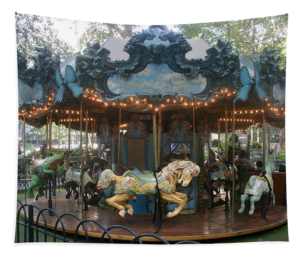 Carousel Tapestry featuring the photograph Carousel by Rick De Wolfe