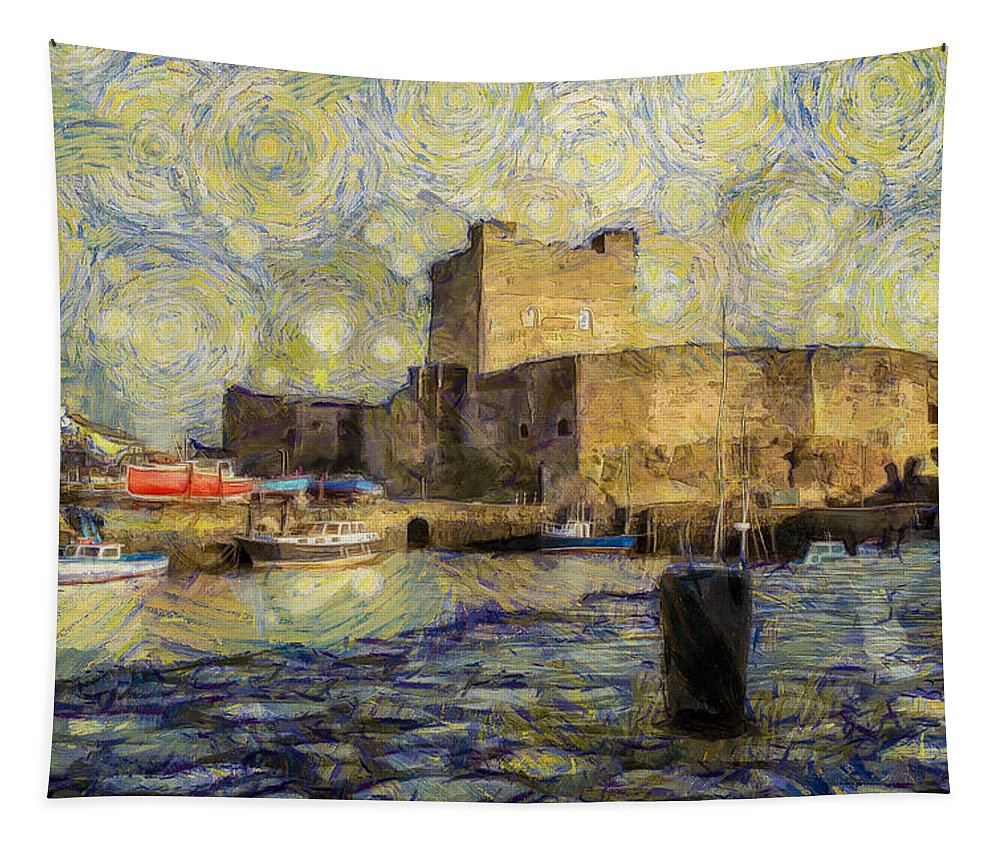 Carrickfergus Tapestry featuring the photograph Starry Carrickfergus Castle by Nigel R Bell