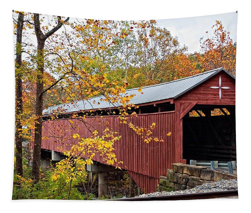 West Virginia Tapestry featuring the photograph Carrollton Covered Bridge by Steve Harrington