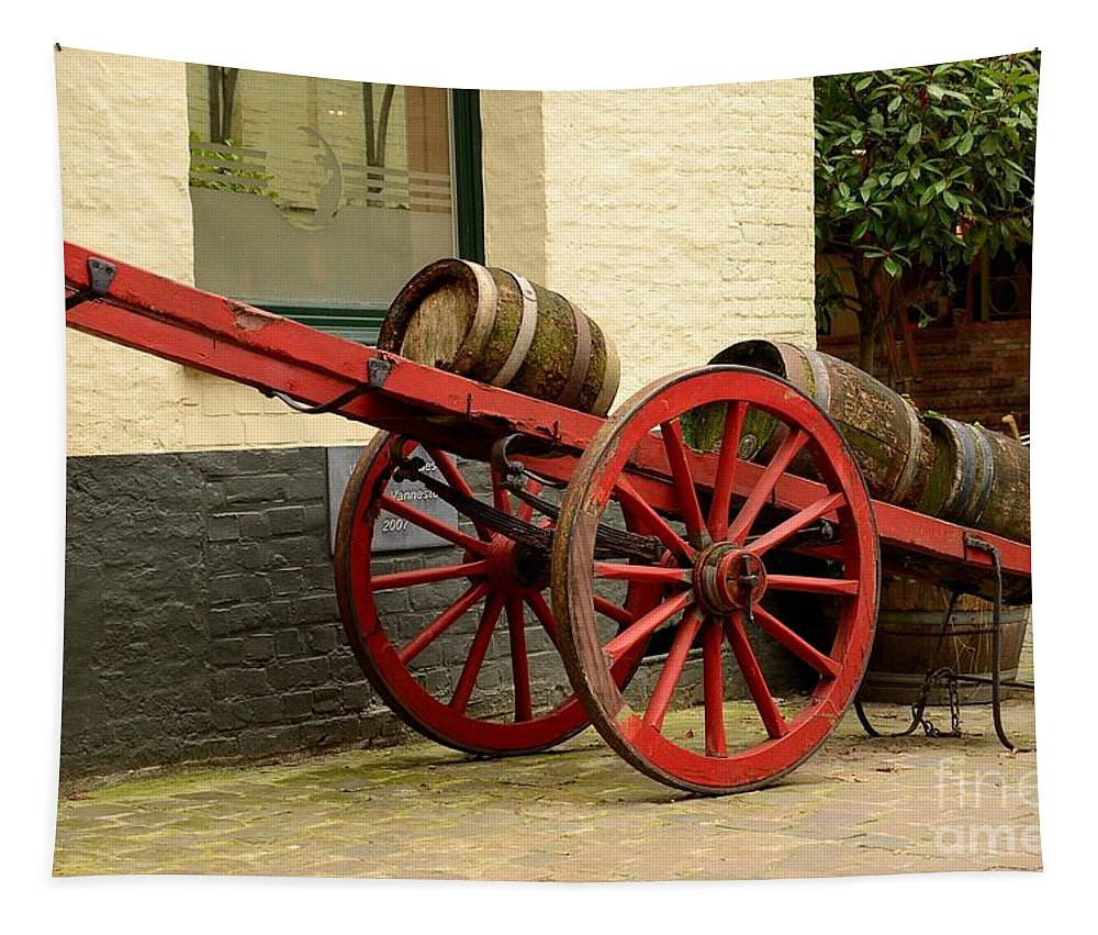 Cart Tapestry featuring the photograph Cart Loaded With Wood Beer Barrels by Imran Ahmed