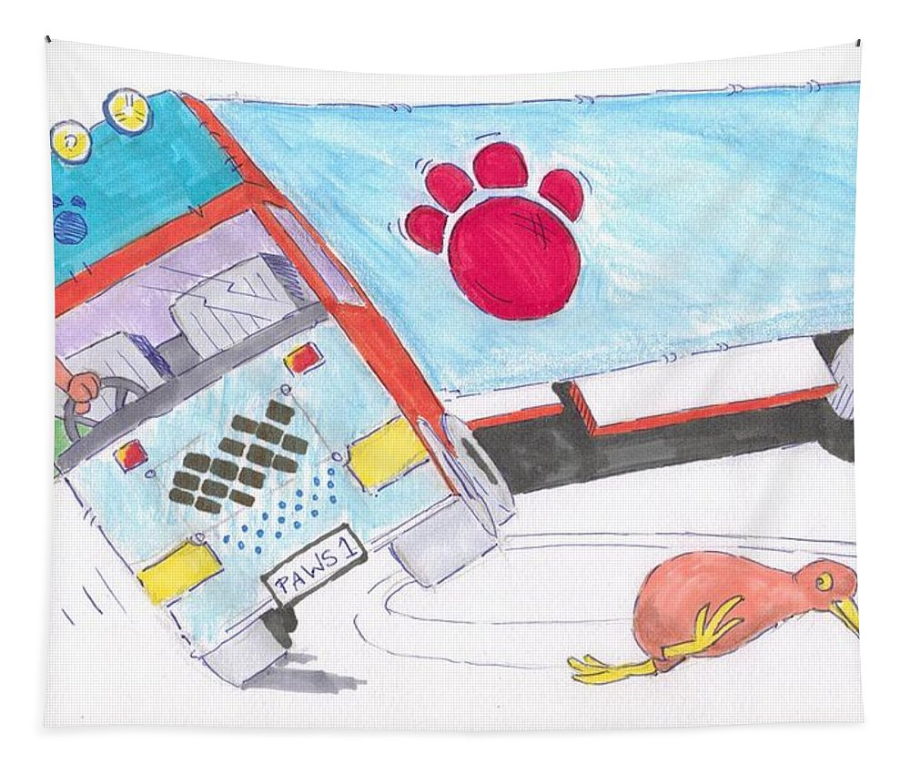 Lorry Tapestry featuring the painting Cartoon Truck Lorry by Mike Jory