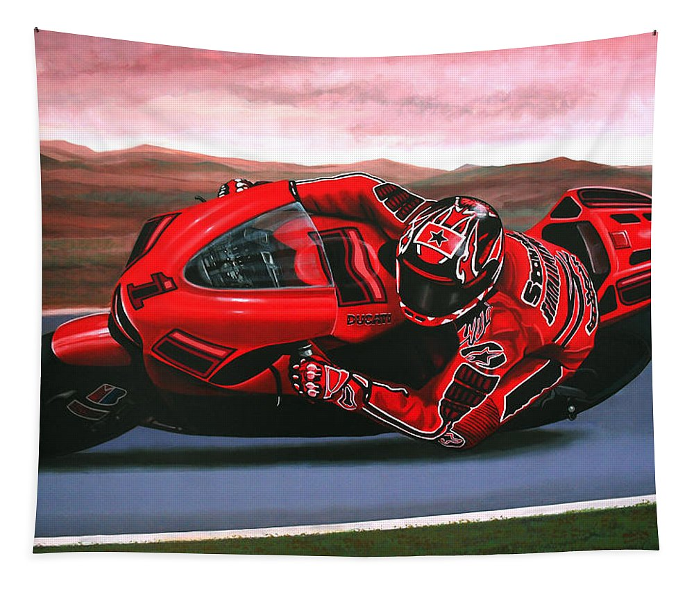 Casey Stoner On Ducati Tapestry featuring the painting Casey Stoner On Ducati by Paul Meijering