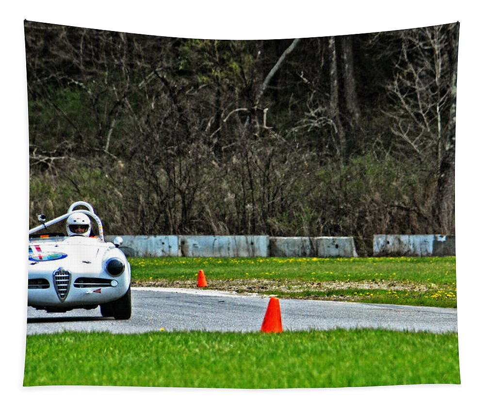 Alfa Romeo Tapestry featuring the photograph Cassins Alfa Romeo In The Esses by Mike Martin