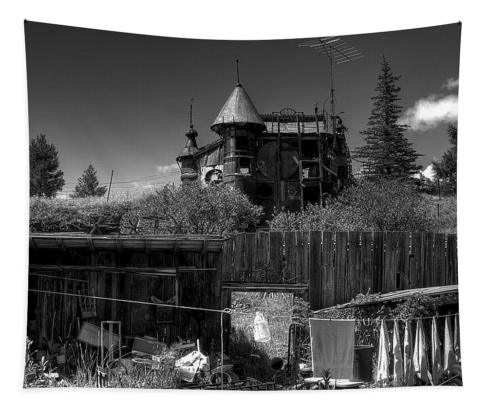Junk Castle Tapestry featuring the photograph Castle In Black And White by David Patterson