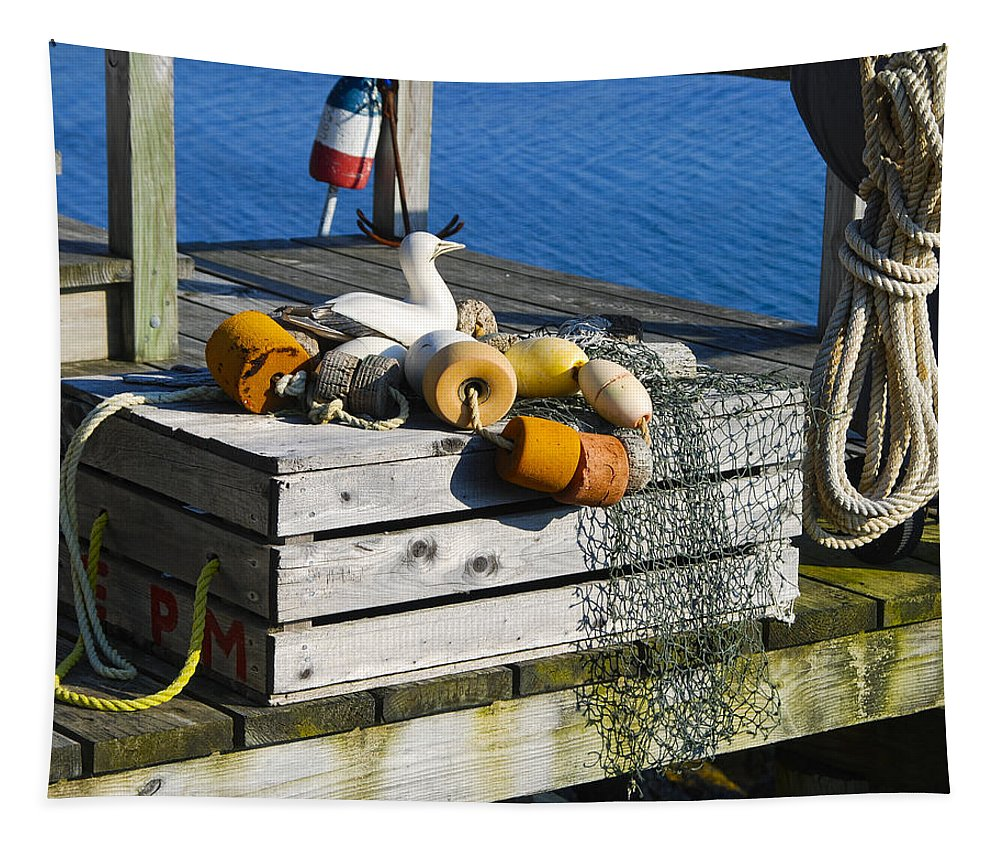 Nautical Photographs Tapestry featuring the photograph Casual Scene by Phyllis Taylor