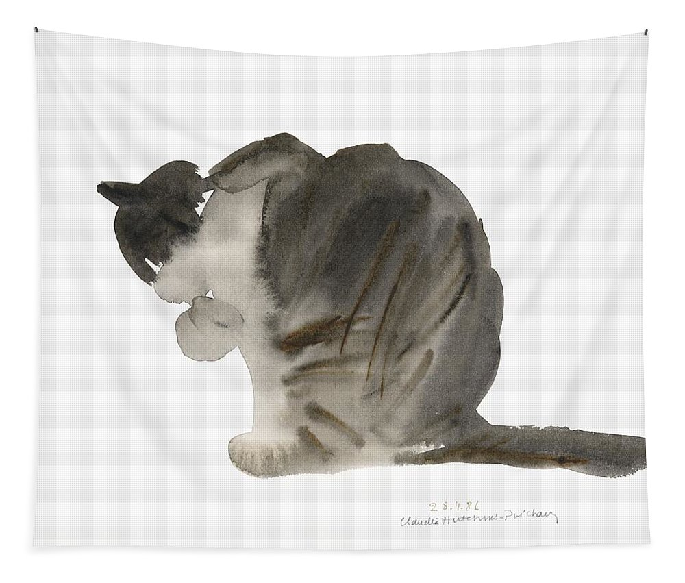 Cat Tapestry featuring the painting Cat by Claudia Hutchins-Puechavy
