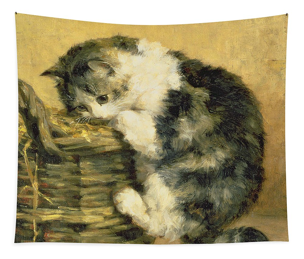 Cat Tapestry featuring the painting Cat With A Basket by Charles Van Den Eycken
