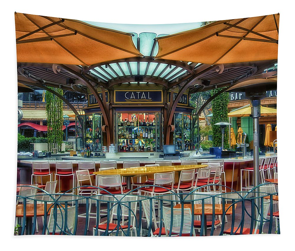 Disney Tapestry featuring the photograph Catal Outdoor Cafe Downtown Disneyland 01 by Thomas Woolworth