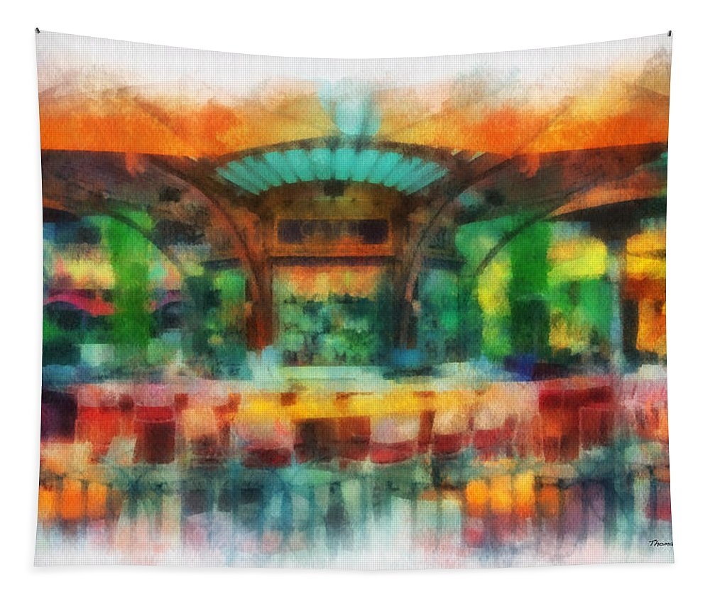 Disney Tapestry featuring the photograph Catal Outdoor Cafe Downtown Disneyland Photo Art 01 by Thomas Woolworth