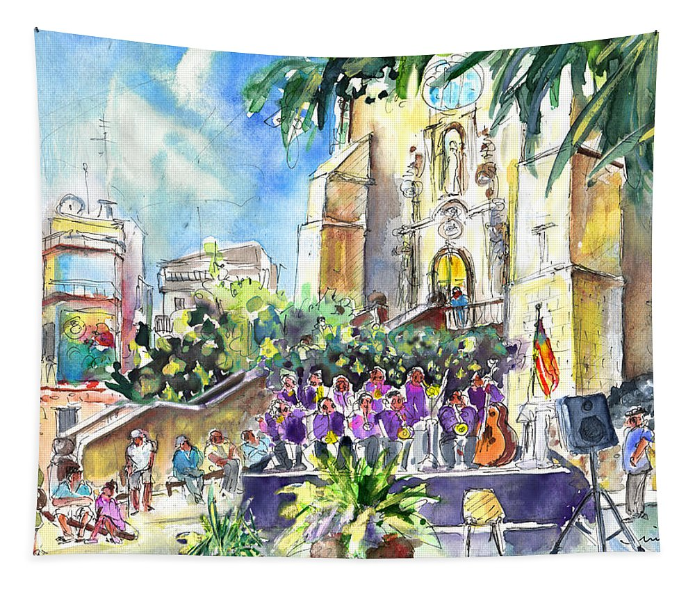 Travel Tapestry featuring the painting Catalonia Day In Llansa by Miki De Goodaboom