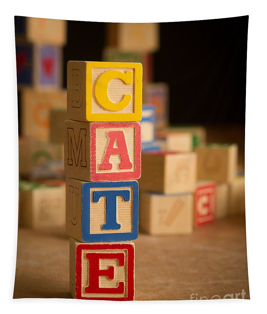 Alphabet Tapestry featuring the photograph Cate - Alphabet Blocks by Edward Fielding