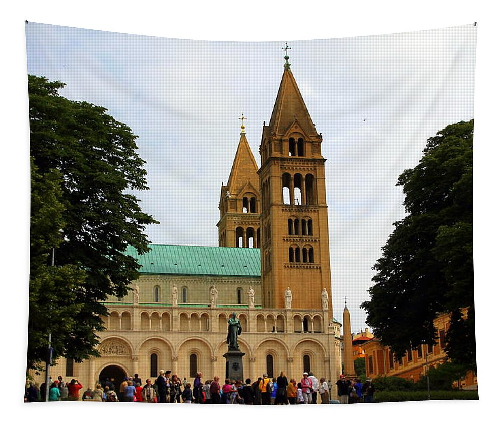 Cathedral Tapestry featuring the photograph Cathedral In Pecs by Laurel Talabere