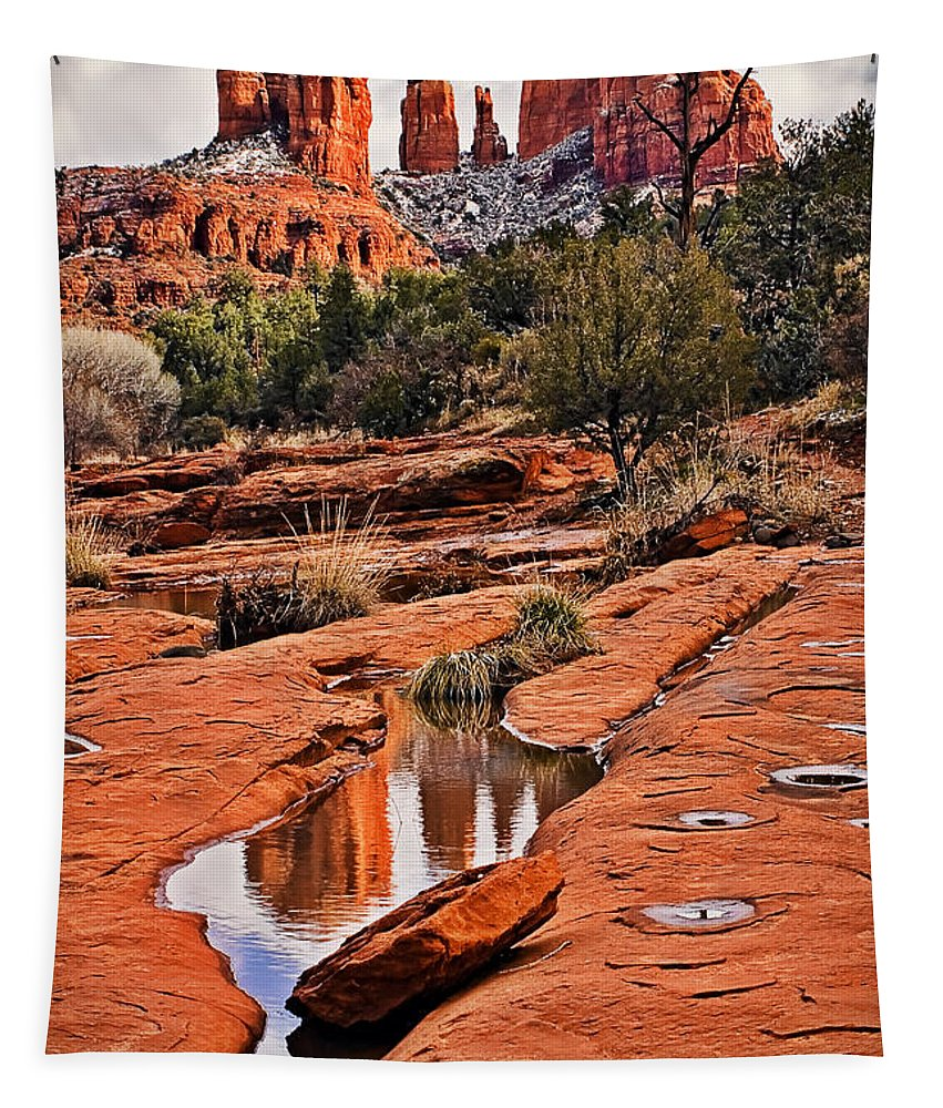 Cathedral Rock In Winter Tapestry featuring the photograph Cathedral Rock In Winter by Priscilla Burgers