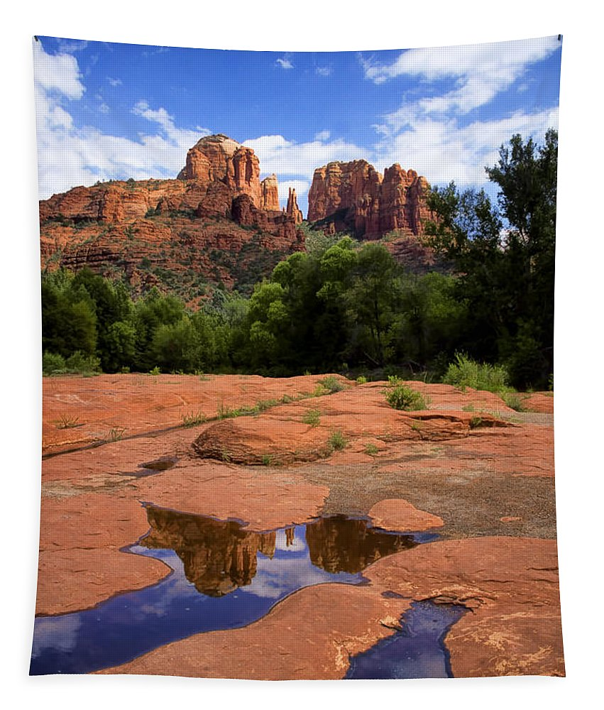 Cathedral Rock Reflections Tapestry featuring the photograph Cathedral Rock Reflections by Priscilla Burgers