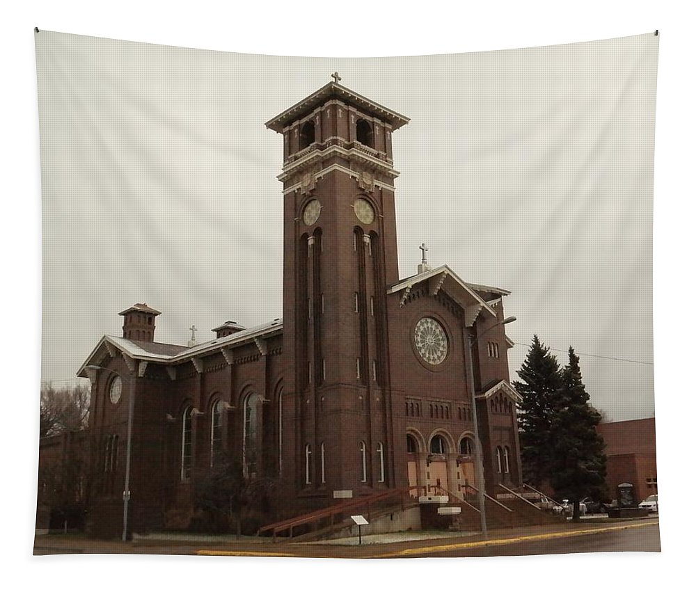 Churches Tapestry featuring the photograph Catholic Church In Lewesiton by Jeff Swan