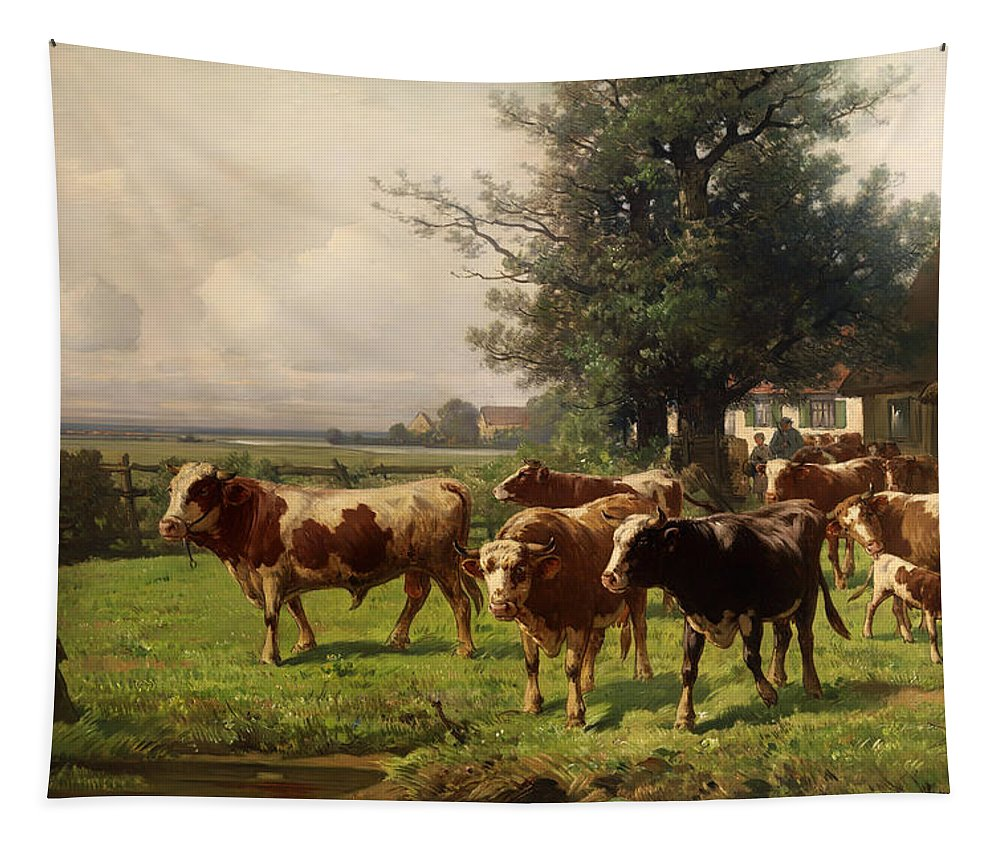 Cattle Tapestry featuring the painting Cattle Heading To Pasture by Mountain Dreams