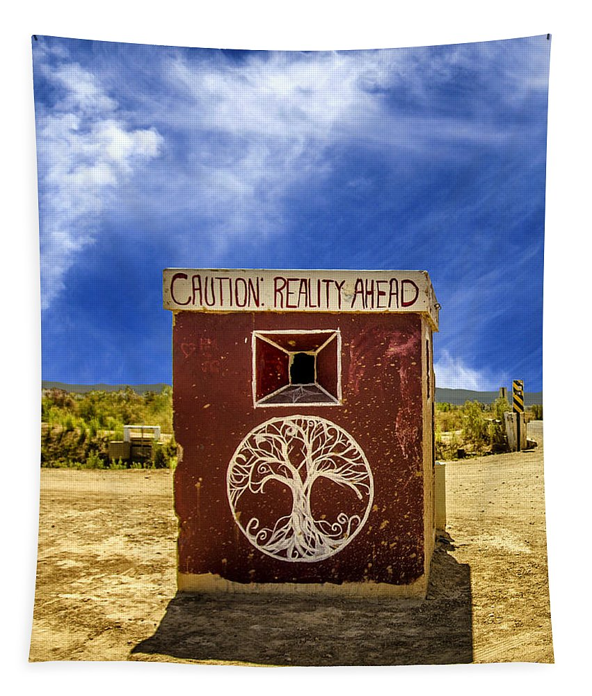 Salton Sea Tapestry featuring the photograph Caution - Reality Ahead by Dominic Piperata