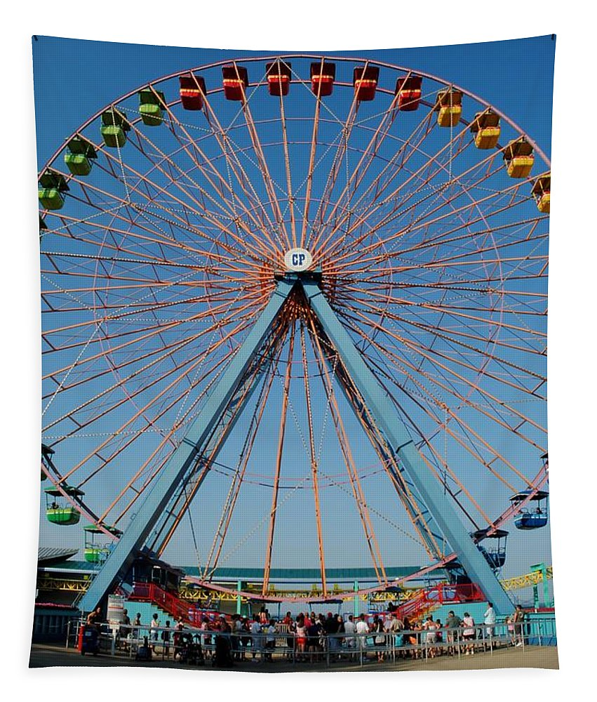 Ferris Tapestry featuring the photograph Cedar Point Sunday by Frozen in Time Fine Art Photography