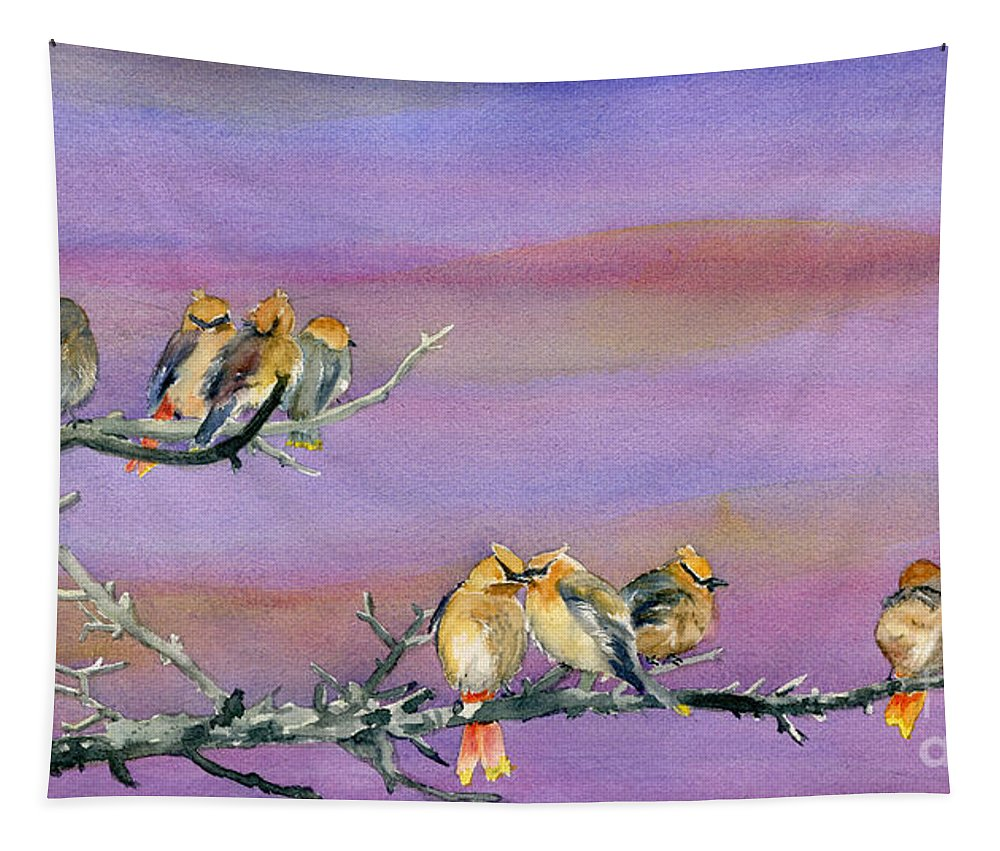 Bohemian Waxwings Tapestry featuring the painting Bohemian Waxwings Birds by Melly Terpening
