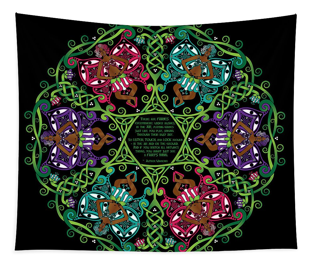 Celtic Knotwork Tapestry featuring the digital art Celtic Fairy Mandala by Celtic Artist Angela Dawn MacKay