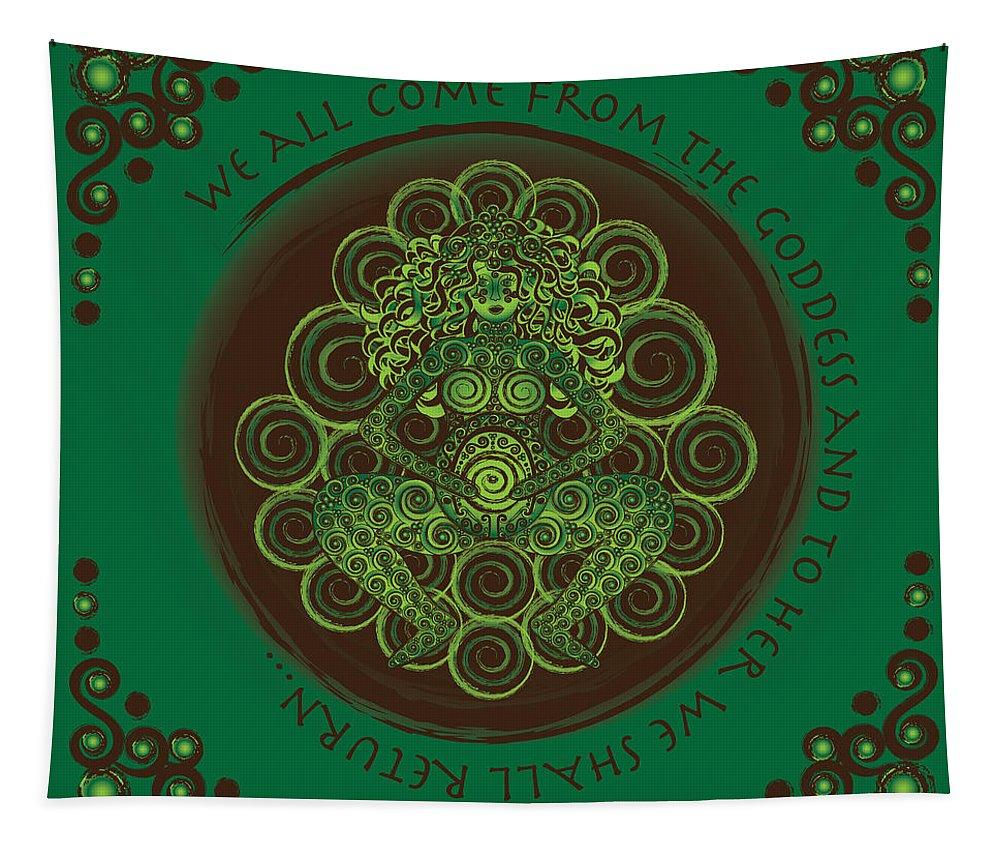 Celtic Tapestry featuring the digital art Celtic Pagan Fertility Goddess by Celtic Artist Angela Dawn MacKay