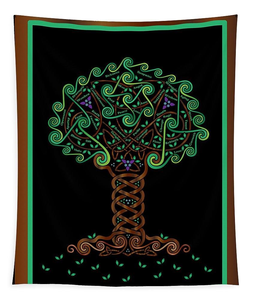 Celtic Art Tapestry featuring the digital art Celtic Tree Of Life by Celtic Artist Angela Dawn MacKay