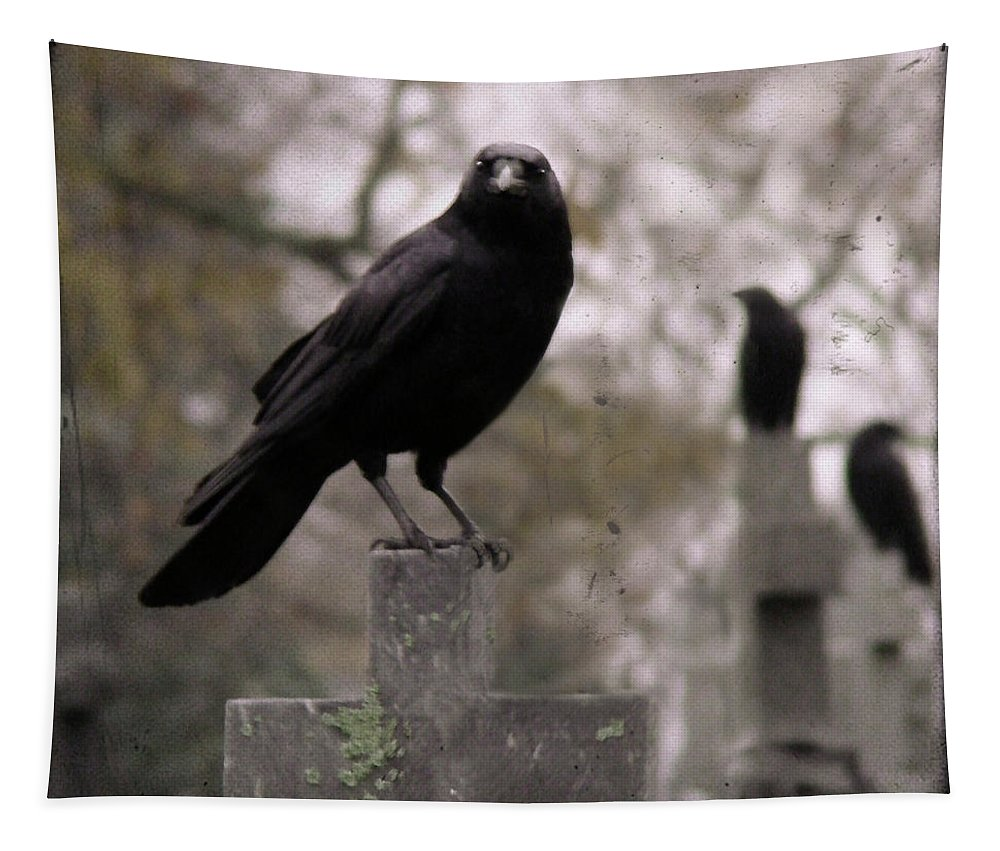 Cemetery Tapestry featuring the photograph Cemetery Crows by Gothicrow Images