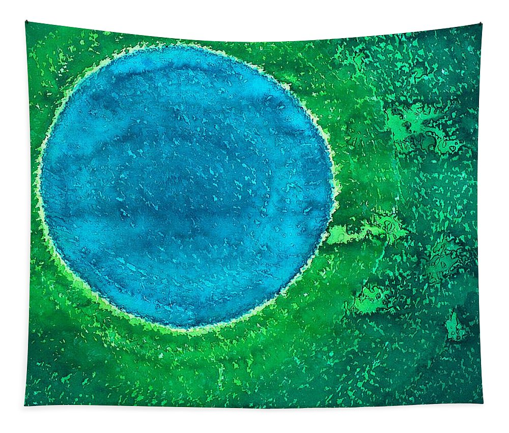 Cenote Tapestry featuring the painting Cenote Original Painting by Sol Luckman