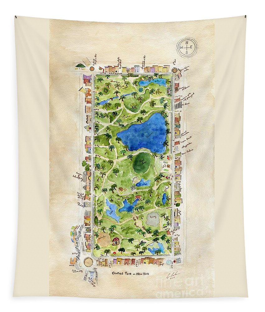 Central Park Tapestry featuring the painting Central Park And All That Surrounds It by AFineLyne