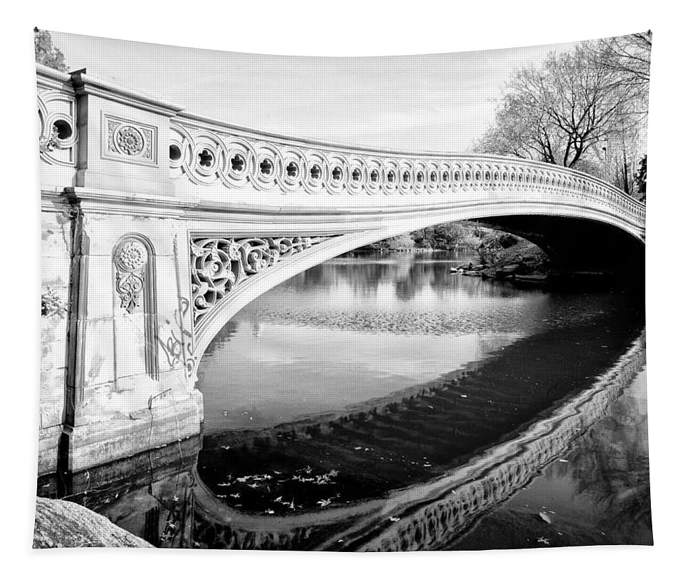 Central Tapestry featuring the photograph Central Park Bridges Bow Bridge Spanning Lake by Bill Cannon