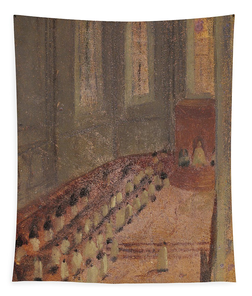 Interior Tapestry featuring the drawing Ceremony Of Ordination At Lyon Cathedral by Edgar Degas