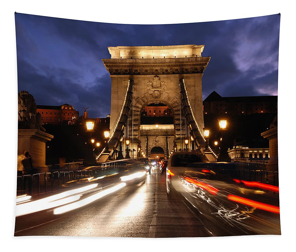 Budapest Tapestry featuring the photograph Chain Bridge Budapest by Michalakis Ppalis