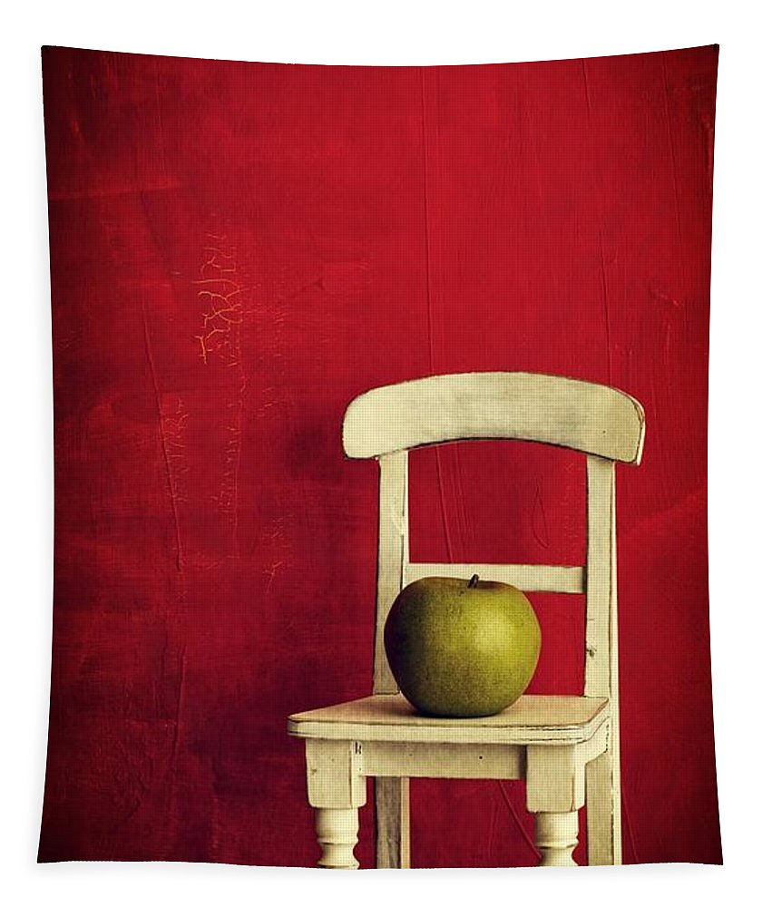 Chair Tapestry featuring the photograph Chair Apple Red Still Life by Edward Fielding