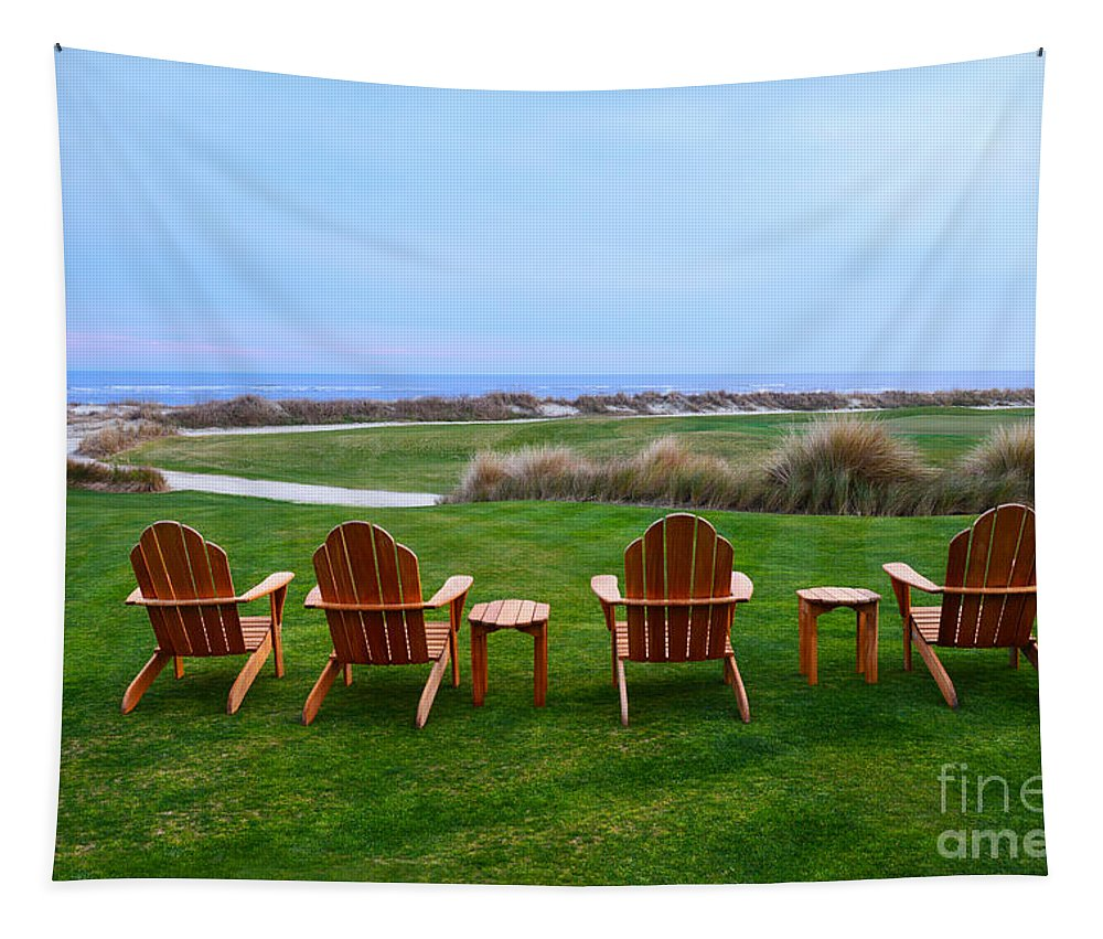 Golf Course Tapestry featuring the photograph Chairs At The Eighteenth Hole by Catherine Sherman