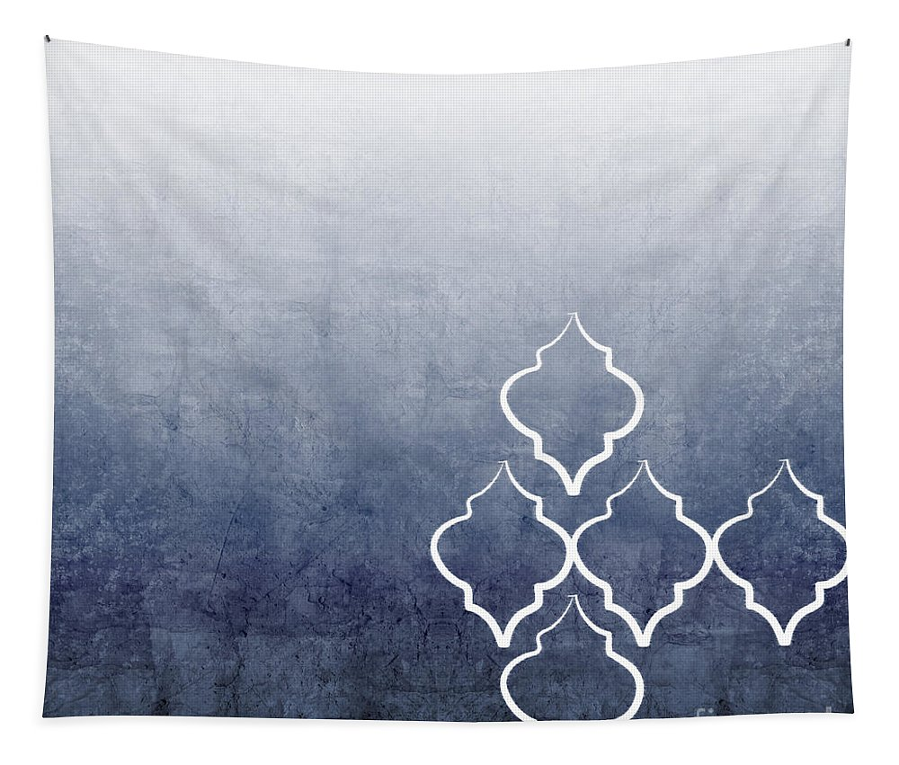 Abstract Tapestry featuring the mixed media Chambray Ombre by Linda Woods