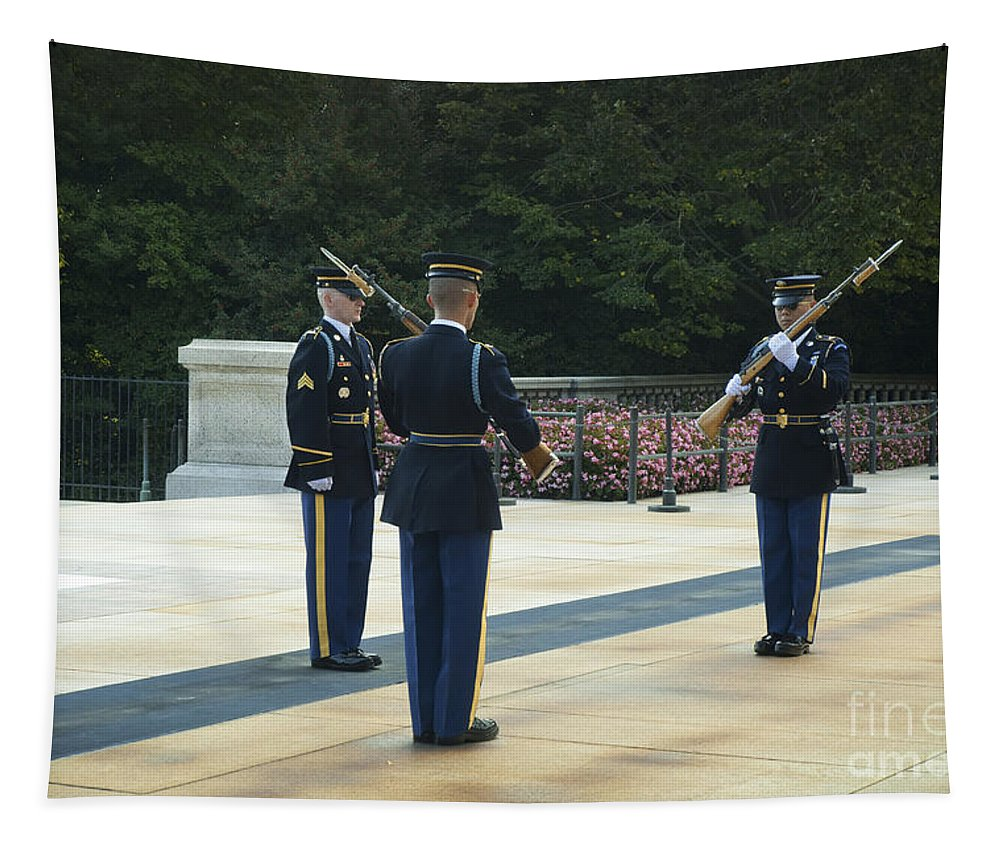 Arlington Tapestry featuring the photograph Changing Of The Guard by Paul W Faust - Impressions of Light