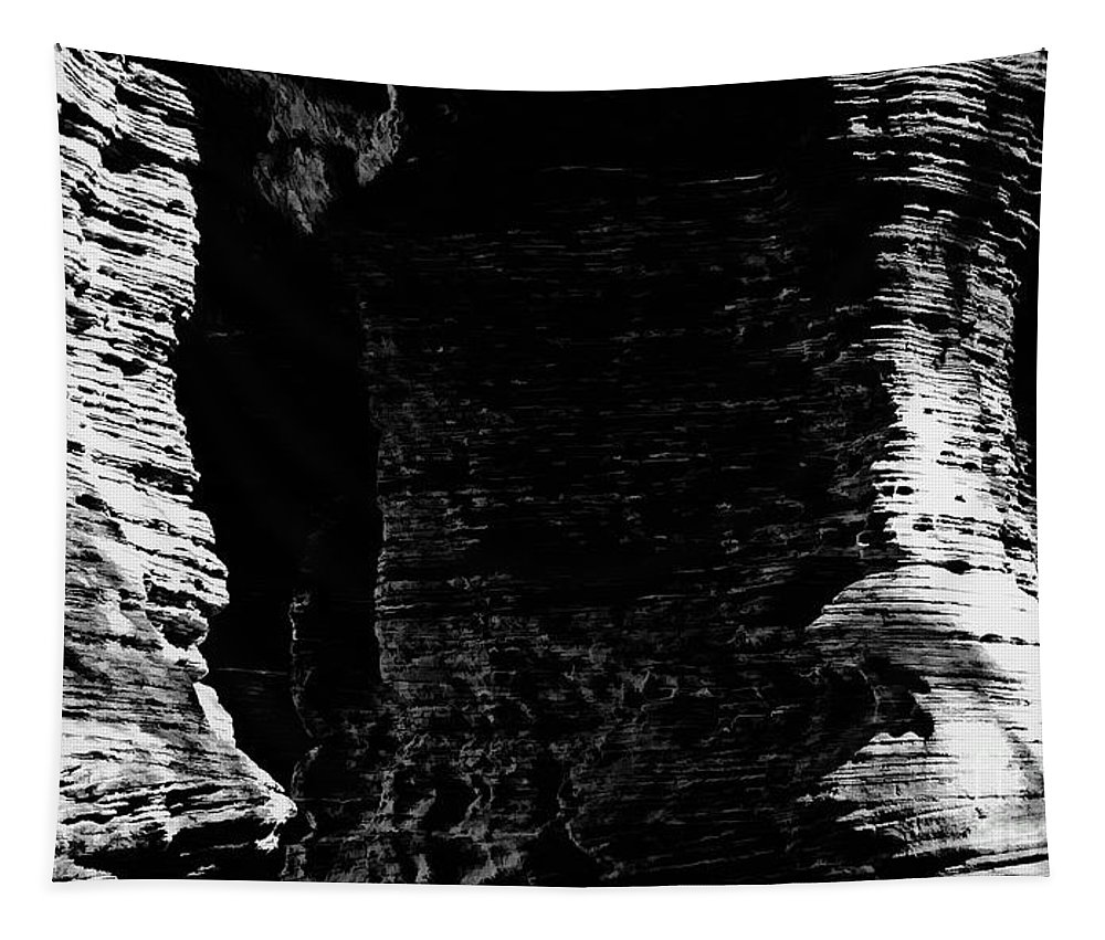 Digital Black And White Photo Tapestry featuring the digital art Chapel Rock Foundations Bw by Tim Richards