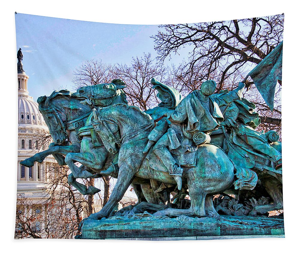 Washington Tapestry featuring the photograph Charge On The Capitol by Alice Gipson