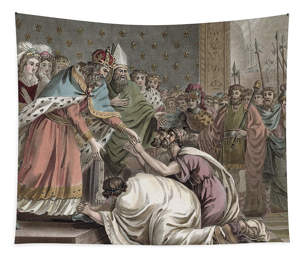 Receiving Tapestry featuring the drawing Charlemagne Receives The Ambassadors by Jean Claude Naigeon