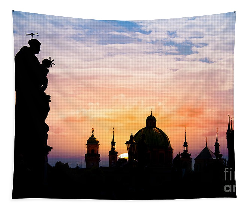 Prague Tapestry featuring the photograph Charles Bridge by Delphimages Photo Creations