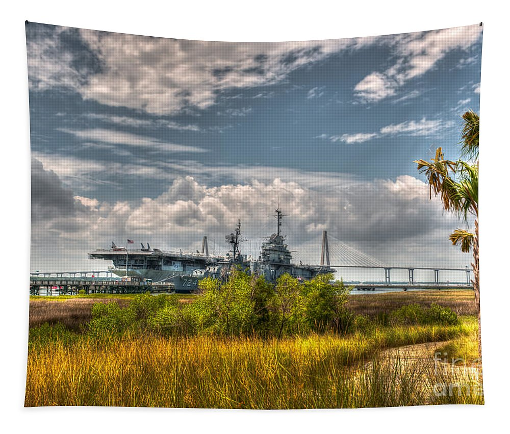 Uss Yorkown Tapestry featuring the photograph Charleston Marsh View by Dale Powell