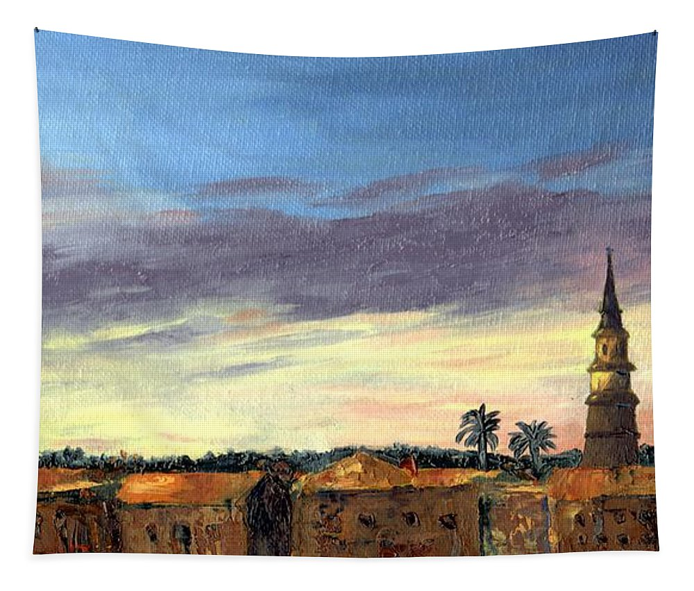 Sunset Tapestry featuring the painting Charleston Rooftop Sunset by Rosie Phillips